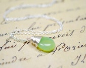 Mint Green Bridesmaid Necklace, Light Celery Green Opal Bridesmaid Jewelry Sterling Silver Necklace Pastel Wedding Jewelry Mint Weddings
