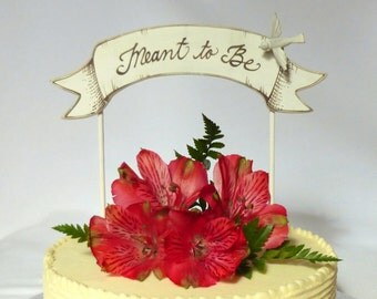 Banner Wedding Cake Topper, Love Birds Banner Cake Topper, Baby Shower or Wedding, Hand Crafted
