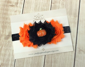 Halloween Headband, Baby Headband, Pumpkin Headband, Black Glitter Headband, Halloween Hair Bow, Orange Black Headband, Baby Headband