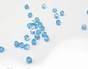 Swarovski Crystal 4mm Bicones, 24 Aquamarine Blue with Aurora Borealis Finish, March Birthstone, Item 142B