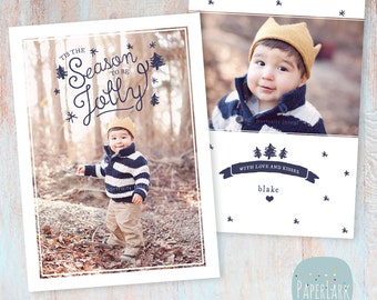 Holiday Card Template - Christmas Photoshop template - AC040 - INSTANT DOWNLOAD