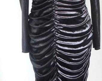 Vintage Black Velvet Dress by Kati of Finland, Designer Evening Dress with Gold Embellishment - 1980s - Size UK 12 -  Size UK 14