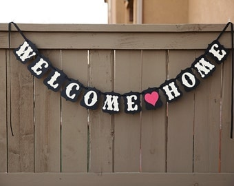 Items similar to Welcome Home Banner in Red, White & Blue ...