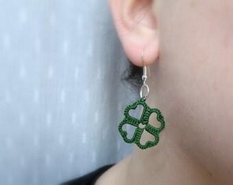 green tiny clover earrings st. patricks day  | tatted earrings | lace earrings | lucky charm  | lightweight earrings