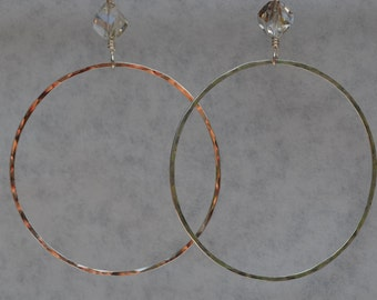 Argentium Silver, Dangle Hoop Earrings, Swarovski Crystals, LARGE