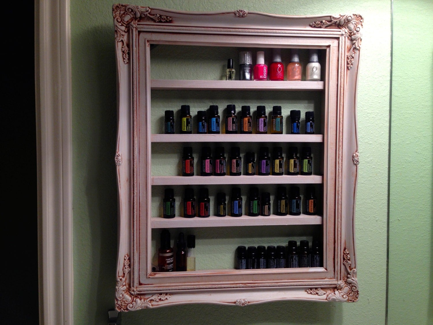 Frame shelf for essential oils fingernail polish etc - Shelving for picture frames ...