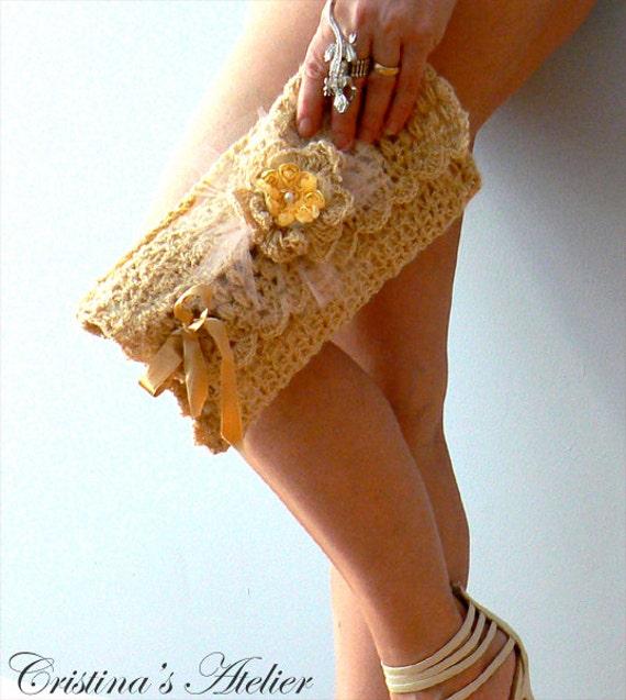Gold crochet purse, vintage inspired handbag. Chic shimmer crochet bag-Handmade boho crochet clutch. Wedding, occassion gold crochet clutch