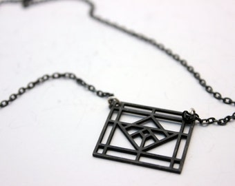 Architectural geometric small vitro necklace -sterling silver oxidized necklace