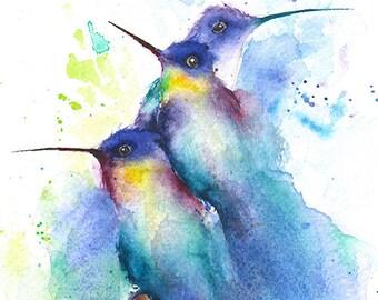 WATERCOLOR BIRD PAINTING - hummingbird wall art, original watercolor, bird art, bird lover gift, bird decor, abstract birds, bird home decor