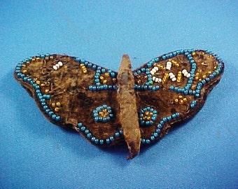Antique Penwipe, Pen Wipe,  Folk Art Handmade Beaded Butterfly, Black Wool