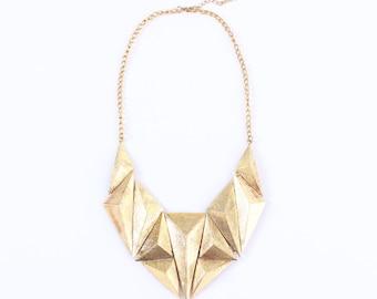Chunky gold statement necklace, chunky gold bib necklace