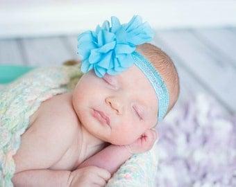 Turquoise Flower Headband, Blue Baby Headband, Newborn Headband, Newborn Photo Prop, Baby Shower Gift, Blue Flower Headband, Adult Headband