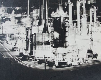 60s Large Art Photo / Black and White Industrial Factory Night Scene
