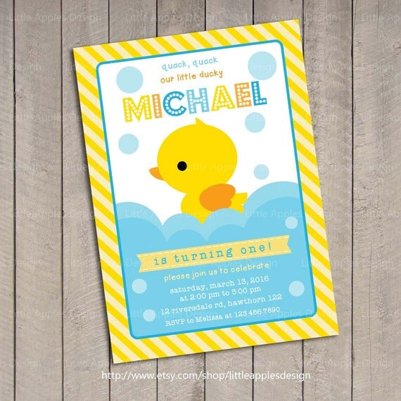 Duck Invitation Rubber Duck invitation Rubber Duck