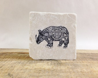 Steampunk Rhino Stone Coasters, Tumbled Marble, Home Decor, Set of Coasters