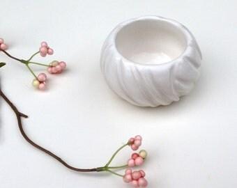 Mini White Ceramic Bowl - Modern Hand Carved Ceramic Modern Pottery