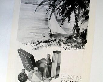 Vintage Worth of Paris perfume ad 1936, Leon Koudine artist illustration, 1930s 30s Art Deco, scent bottles picture, girl sailing scene