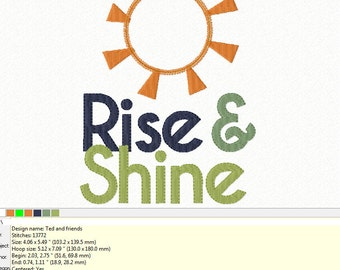 Applique and Fill - RISE & SHINE ~ Machine Embroidery Design - Applique - Instant Download