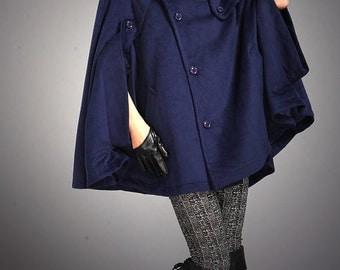 Blue Plus Size Cape Coat Wool Cloak-WH036 M-L