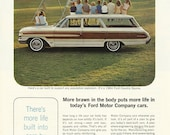 Ford Country Squire Station Wagon Automobile Original 1964 Vintage Print Ad w/ Color Photo of Many Children Sitting on the Roof of a Car