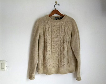 Vintage Beige Cable Knit Fisherman's Sweater