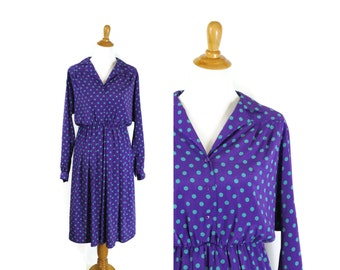 SALE 1980s PURPLE and TEAL Polka Dot Shirt Dress by Willi of California Rockabilly