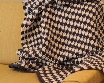 Crochet Houndstooth Blanket | Afghan | Throw PATTERN - PDF Great Gift Idea