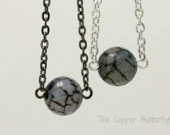 The Eye of the Zombie - Natural Agate Gemstone Necklace - Walking Dead, Halloween, Macabre, Emo, Gothic Style - 6140206