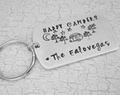 Happy Campers hand stamped key chain- travel- camping- family gift- Father's Day gift- keychain