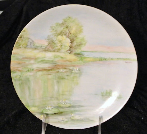 Antique Artist Signed Hand Painted Porcelain Plate 1900s Austria Austrian Water Lilies Pond Lotus Flowers Riverbank Scene Scenic Nature