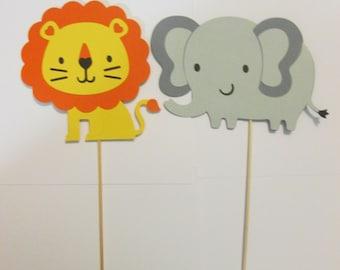 Jungle animal centerpieces, Jungle birthday decorations, vase decorations