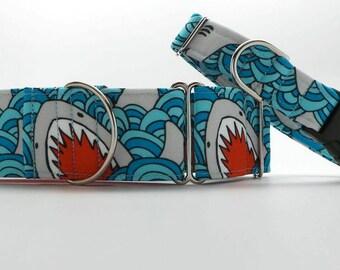 Shark Bait CANVAS Dog Collar (Martingale, Buckle or Tag)