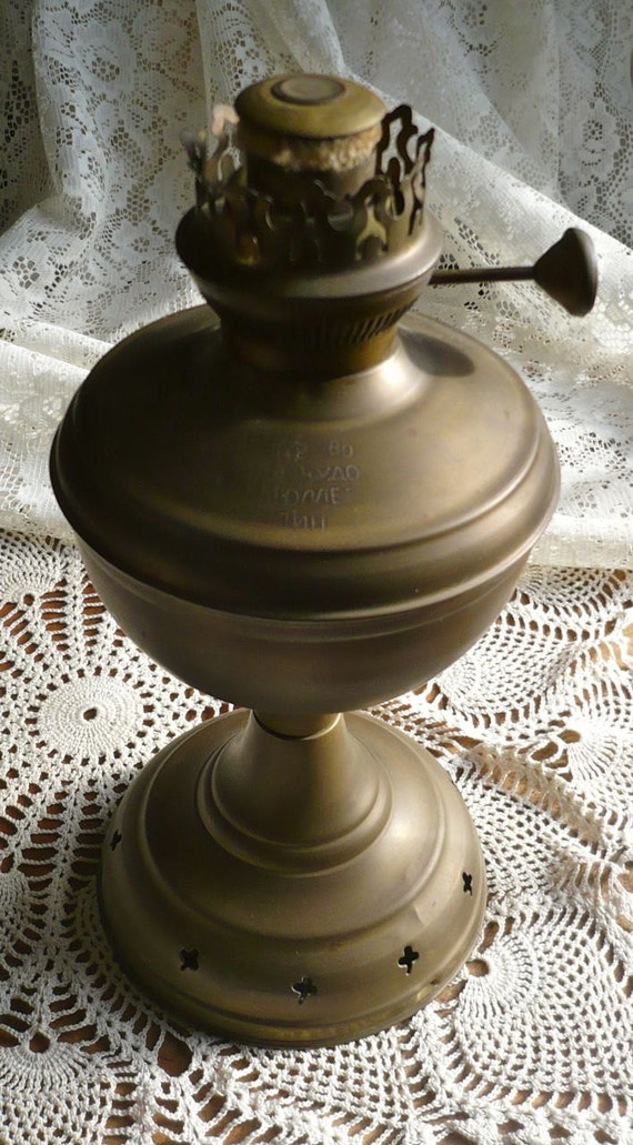 Vintage Brass Oil Lamp Russian Script Dated 1880