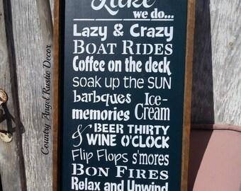 Lake Sign.Lake Rules Sign.Cottage Sign.Cabin Decor.Deck Sign.Livin on Lake Time.Rustic Sign.