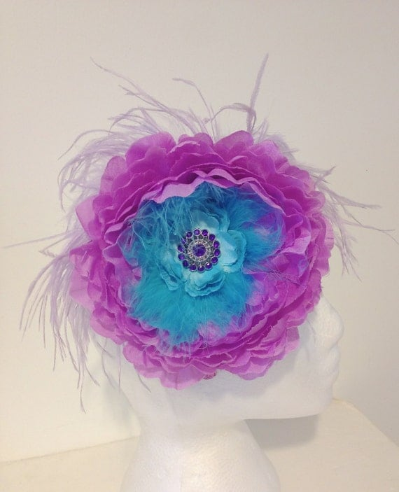 Turquoise Lavender Hair Flower Feather Headband Fascinator. Dance ...