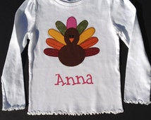 Personalized Thanksgiving Outfits - Infant or Toddler  - Turkey with fabric feathers and name