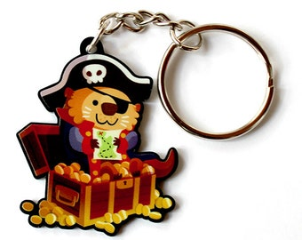 Cute Pirate Otter Keychain or Cute Pirate Otter Phone Charm