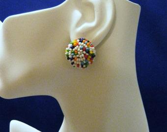 1950's Half Domed Multi-Colored Beaded Clip Earrings