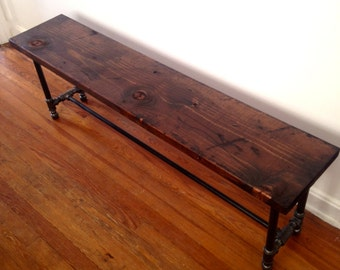 Brixton Dining Bench - Reclaimed Wood Bench - Reclaimed Wood & Pipe Bench