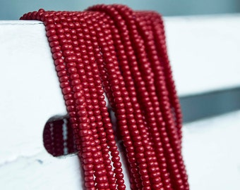 Dark Red color Seed Beads (5 strands)