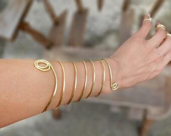 Spiral Boho Warrior Bracelet, Gold Wire Wrapped Arm Cuff Jewelry