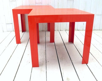 Parsons Tables Orange Syroco Plastic Pair 1960s