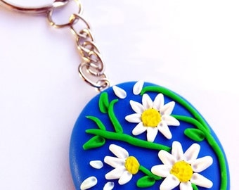 Daisy key ring in polymeric paste-Fimo