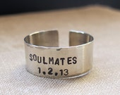 Soulmates Ring. Personalized Ring for Men and Women. Adjustable Ring. Two Rows Engraved Ring. Wide Ring
