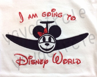 "Embroidered ""I'm Going To Disney World"" plane appliqué shirt with hair bow"