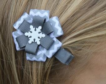 Chevron Snowflake Hair Bow - Chevron Snowflake - Hair Clip - Snowflake - Hair Accessory - Chevron Snowflake clip - Chevron Hair Clip