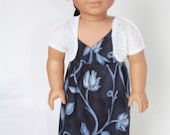 """American Girl 18"""" Doll Clothes and Accessories - Navy Maxi Dress and White Shrug"""