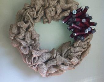 Burlap Wreath with Dark Red Shotgun Shell Wreath