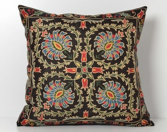 Suzani Pillows - Black Hand Embroidery Floral Vintage Silk Suzani Pillow - Decorative Pillows For Couch - Throw Pillow - Accent Pillow