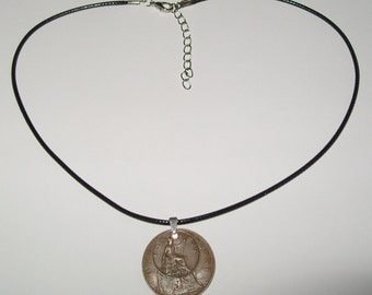 """Black Waxed Cord British 1922 Penny  & Farthing Necklace17"""" 43cm With Extension Chain"""